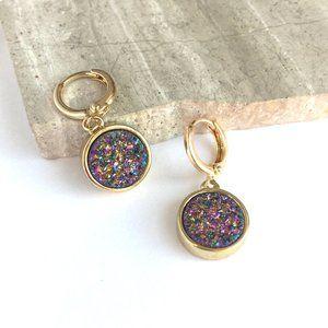 Purple Druzy Gold Huggie Earrings